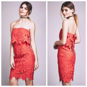 Saylor x Free People Erin Red Lace Strapless Dress